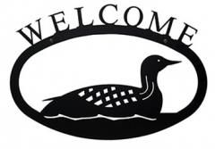 Large wrought iron loon welcome sign via lakeviewcabindecor.com