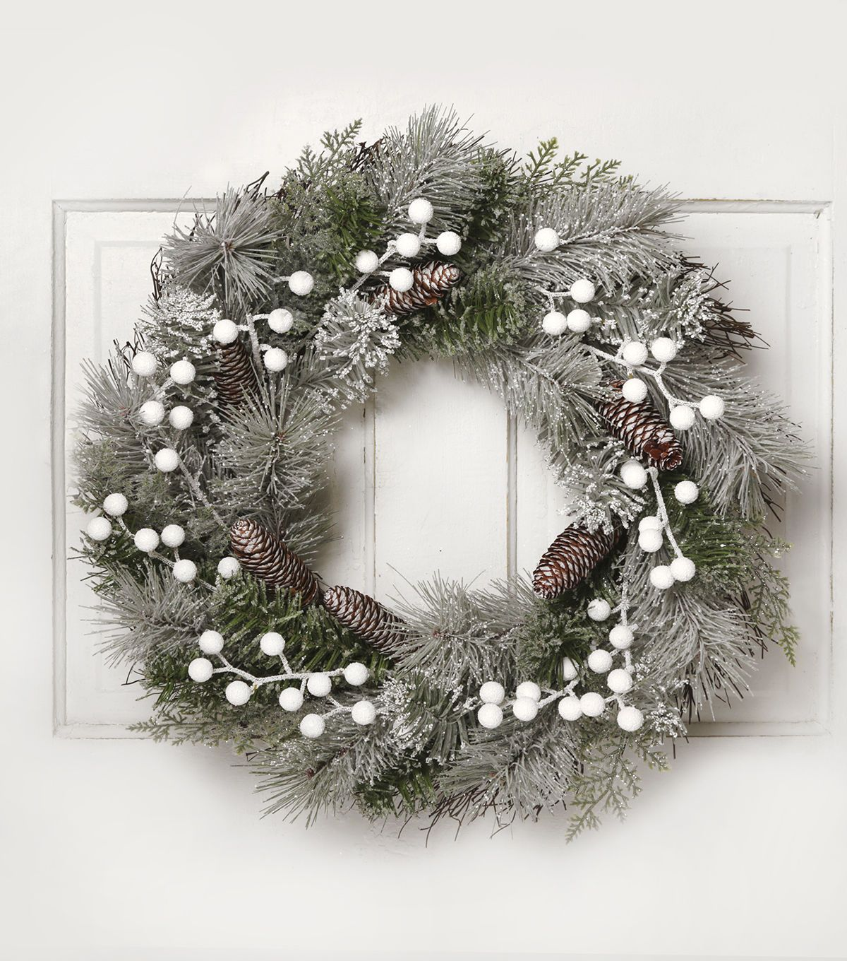 Blooming Holiday 22'' Berry & Snowed Pine Wreath-White