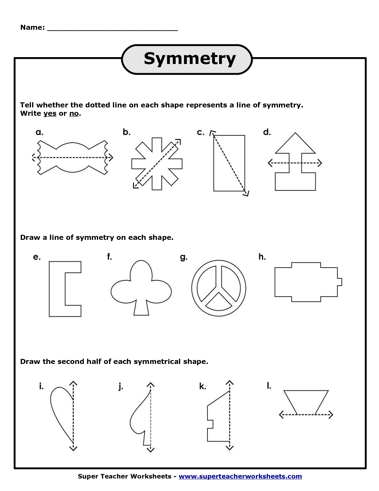 Line Symmetry Worksheet Printable