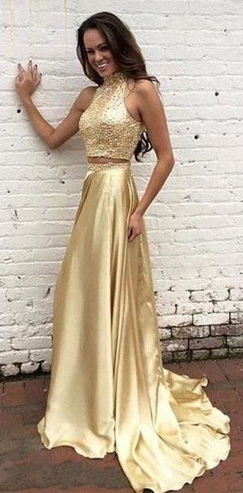 Fashion Halter Neckline Two Pieces Gold Beaded Prom Dress | Dresses ...