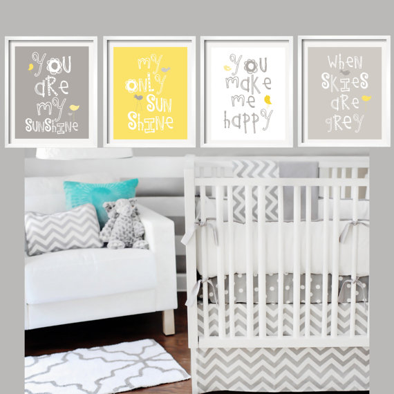 Sale yellow and gray wall art nursery decor prints by yassisplace also you are my sunshine baby rh pinterest