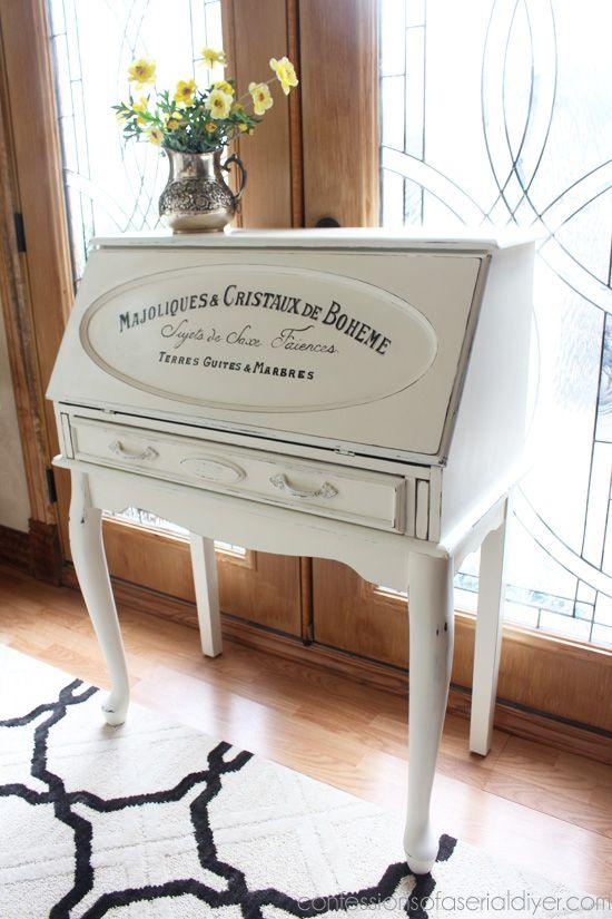 French Secretary Desk Furniture Makeover Painted Secretary