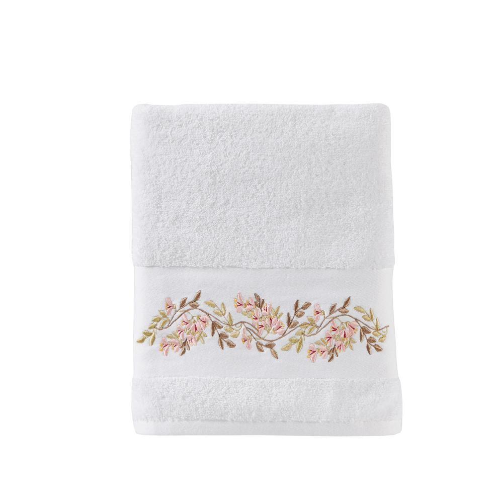 Skl Home Misty White Floral Cotton Single Bath Towel Bath Towels