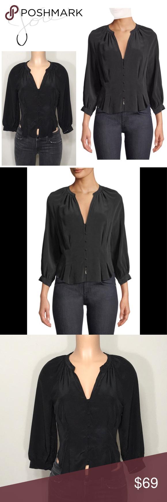 """Bitina V-Neck Button-Front Silk Top. NWOT Still $104 at Bergdorf Goodman  Joie """"Bitina"""" silk top. V..."""