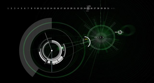 Windows 7   Rainmeter:   Dark Arc clock  Kotoko calendar  Kotoko system circles  wallpaper from Deviant Art