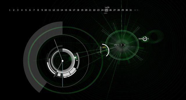 Windows 7   Rainmeter:   Dark Arc clock  Kotoko calendar  Kotoko system circles  wallpaper from Deviant Art