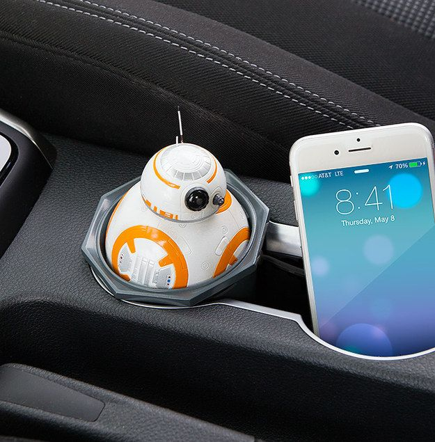 A BB-8 car charger that makes an adorable driving sidekick