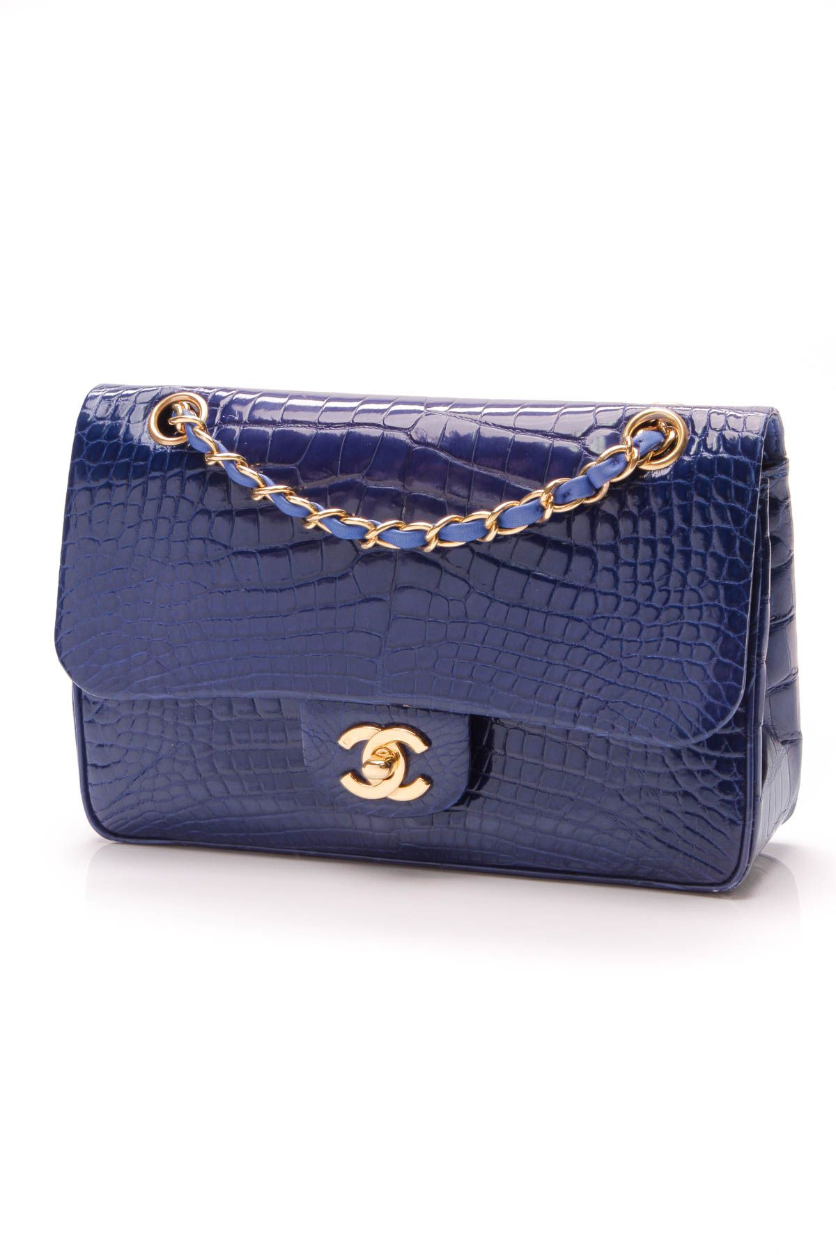 8d5e571bb96a7d Chanel Classic Double Flap Bag - Small Blue Alligator | On The ...