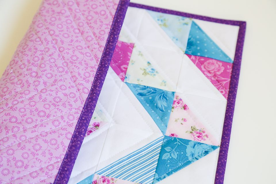 Half Square Triangle Mini Quilt with diamond design by Pinwheel Cottage
