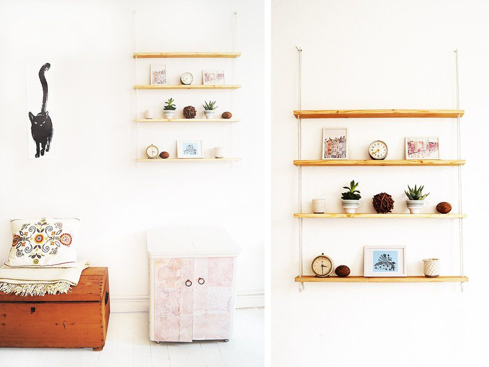 #IkeaHack, #Makeover, #Rope, #Shelf, #Shelving, #Tutorial, #Wood I think I'm starting to come down from my ultra-minimalistic home decor trip. A few months ago I was defending every empty spot in my apartment vigorously and now I am suddenly planning one project after another, to fill those white areas. Still v