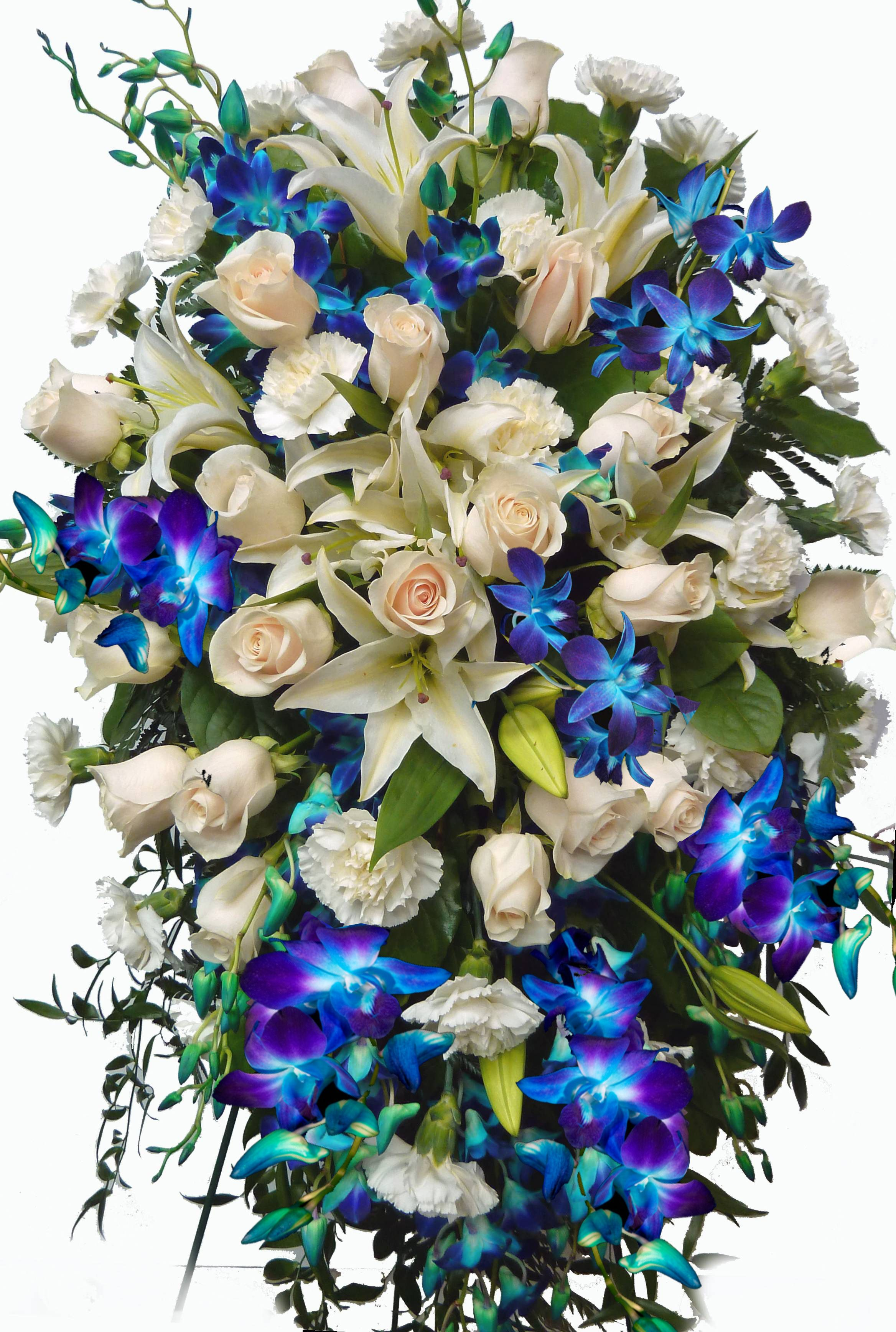 This Sympathy Flower Design Incorporates Blue Orchid Flowers White