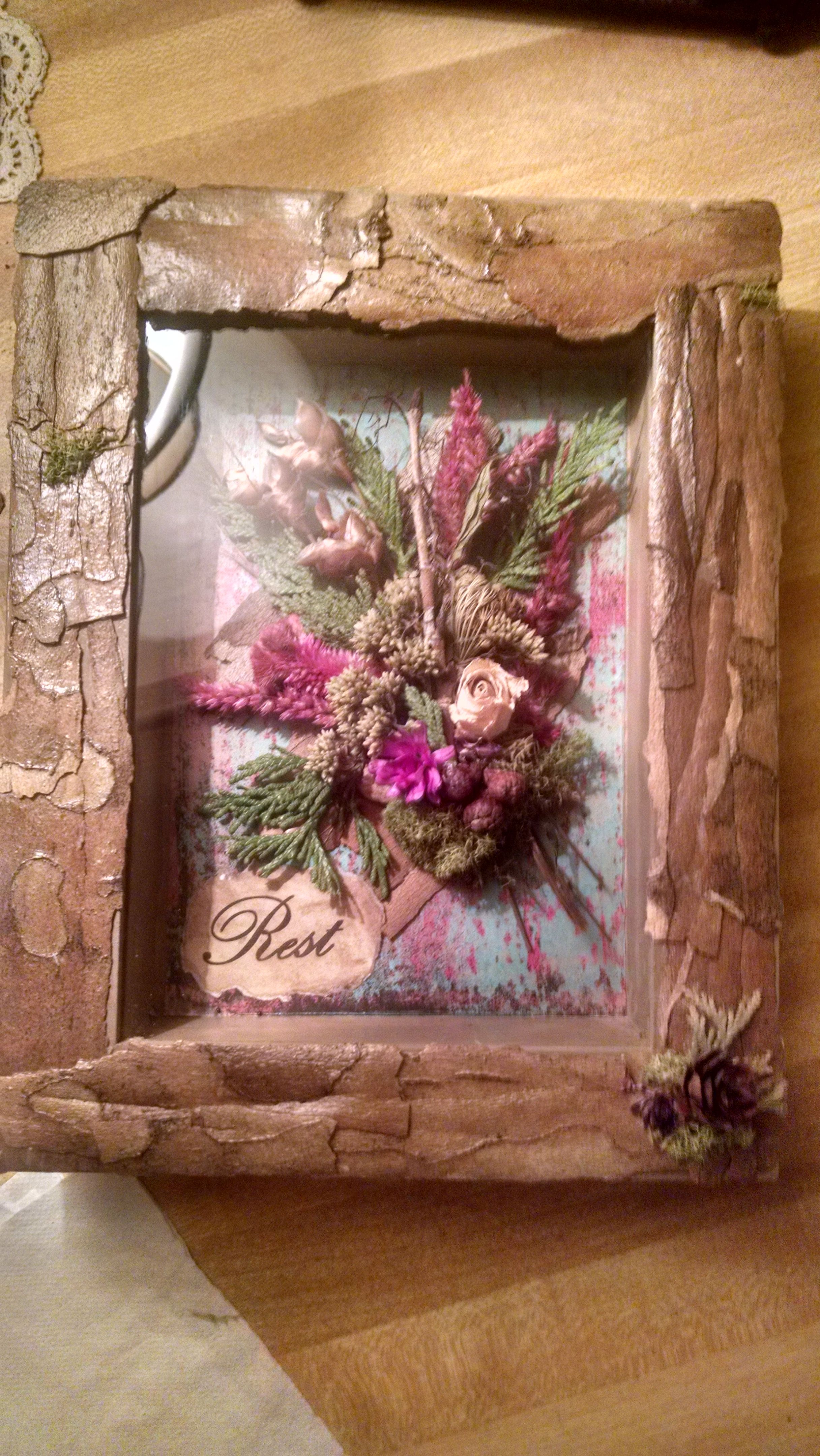 """""""Rest"""" Shadow Box with Sycamore bark frame and dried"""
