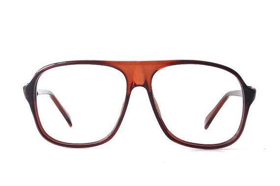 eae4b6df13 vintage 1980 s NOS aviator frames brown amber plastic eyeglasses oversized eye  glasses modern accessories deadstock mens womens retro square