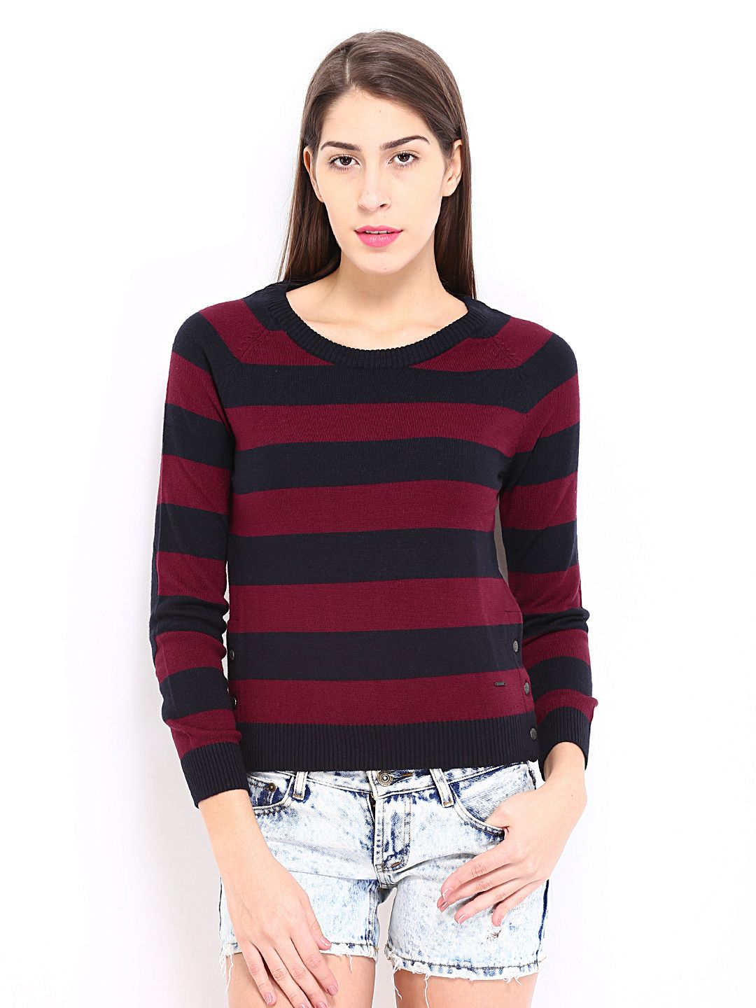 Pepe-Jeans-Women-Red---Black-Striped ...