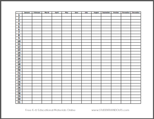 Year Long Calendar On A Single Sheet Of Paper Free To Print Pdf File Teacher Projects Sheet Of Paper Single Sheets