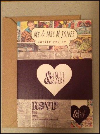 Comic Book Themed Wedding Invitations