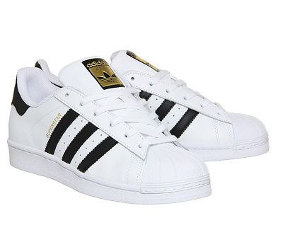 Adidas Super Star (GS) White Black Gold Women/Boys/Girls Trainers All