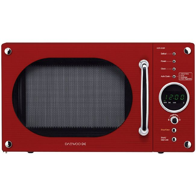 Daewoo KOR6N9RR Compact Microwave Oven in Gloss Red, 20L 800W ...