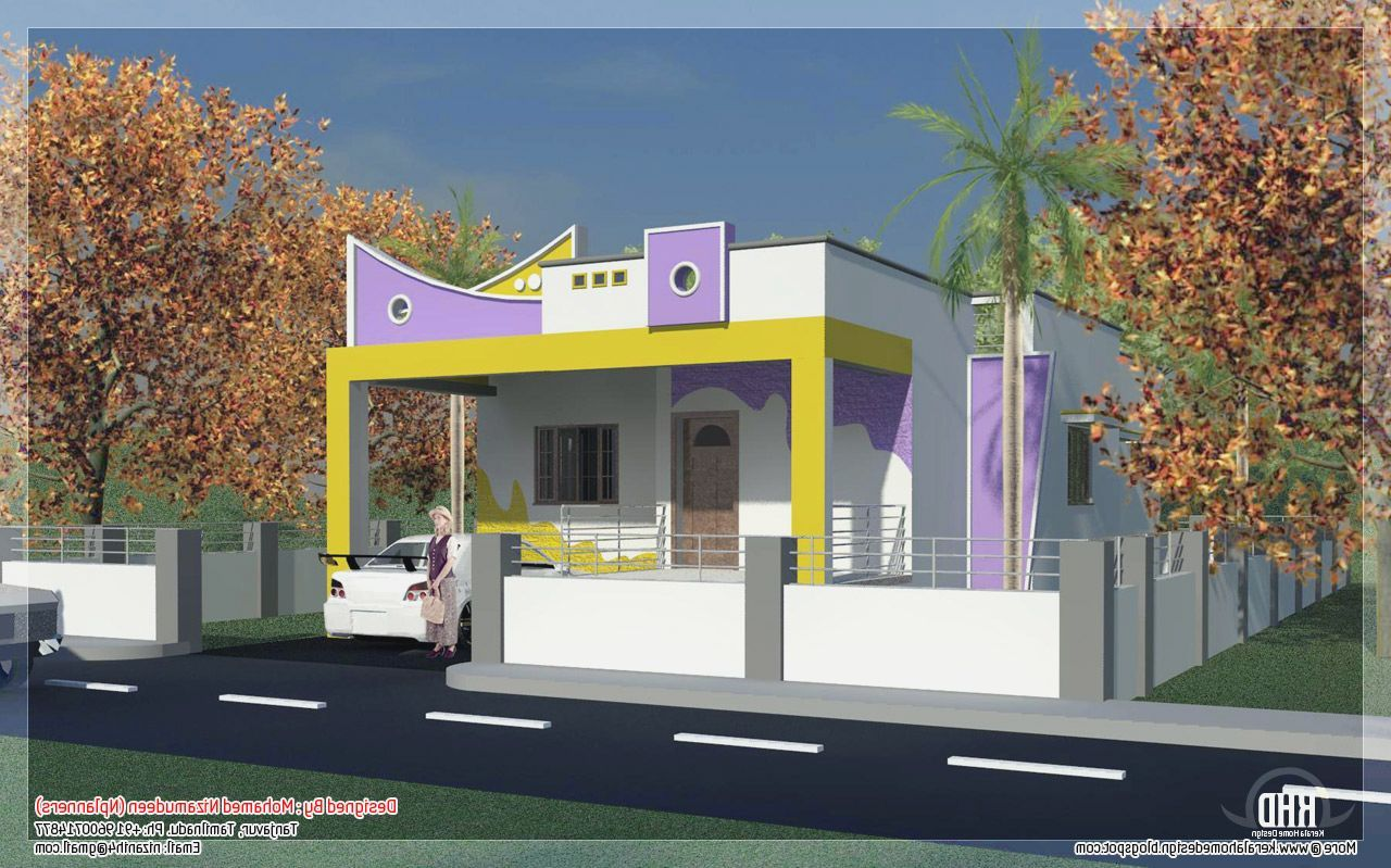 Indian house front boundary wall designs ideas for the Indian house front design photo