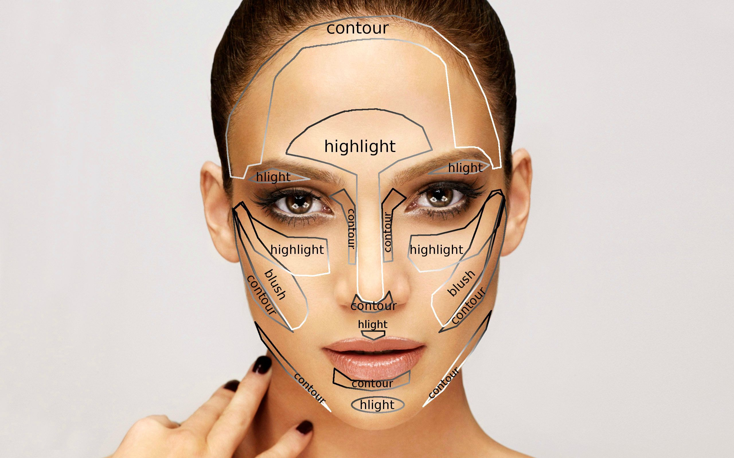 Contouring, highlighting, and blush for oval shaped faces