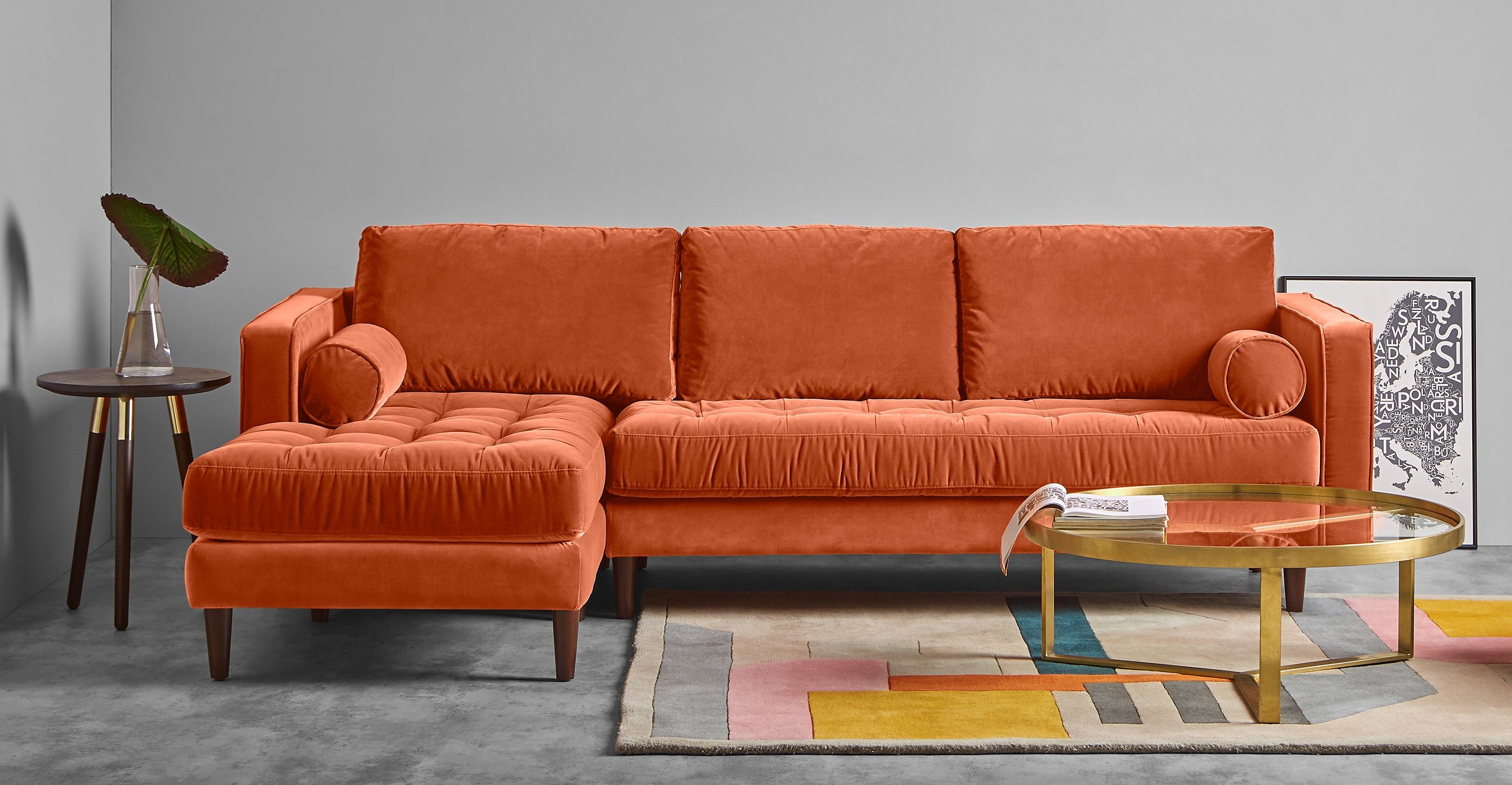 Gut Scott Ecksofa (Récamiere Links), Samt In Rostorange | Made.com