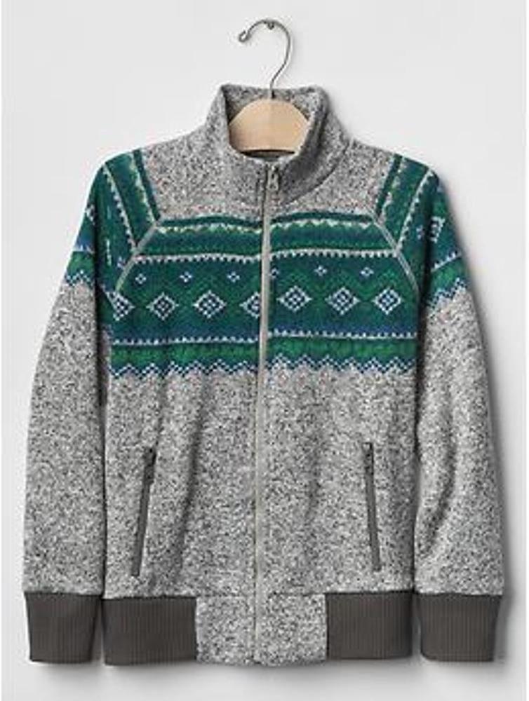 Boy Fair Isle Sweater Fleece Zip Jacket GAP Grey School Pockets 4 ...