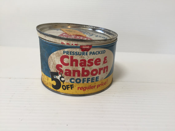 Vintage Coffee Can Chase Sanborn Coffee Blue Coffee Can Etsy In 2020 Vintage Coffee Coffee Cans Coffee Bean Gifts