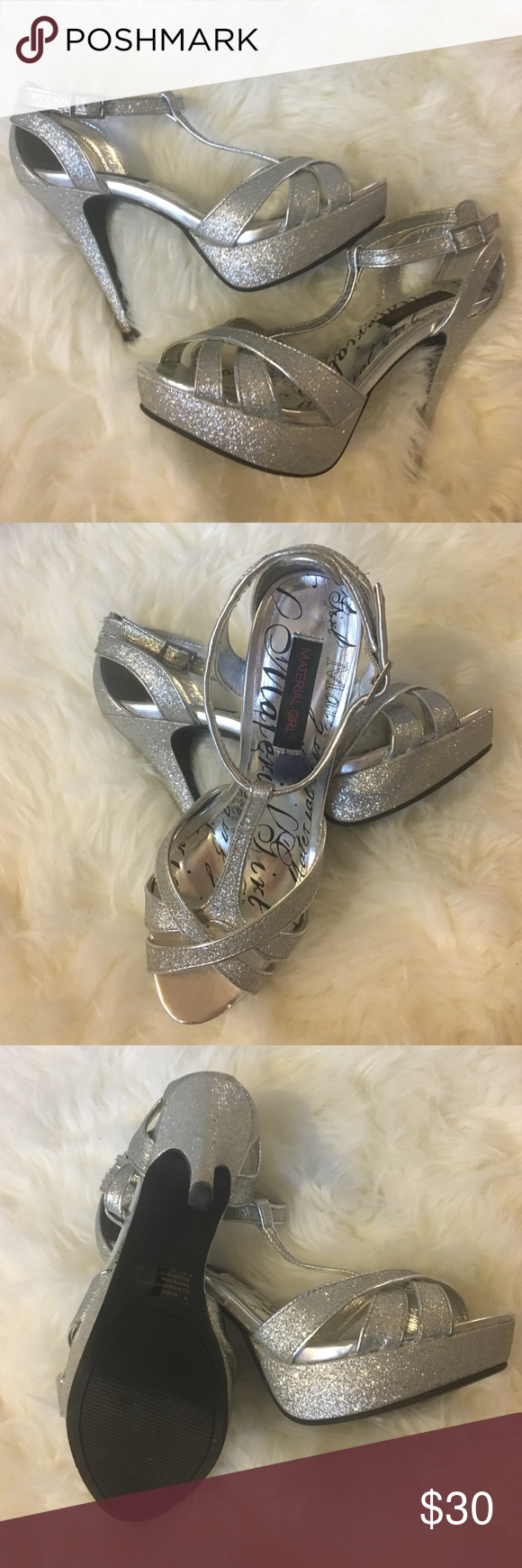 Material Girl Silver Glitter Pumps Size 8 pumps. Perfect condition. Silver sparkle, platform pumps. Material Girl Shoes Platforms
