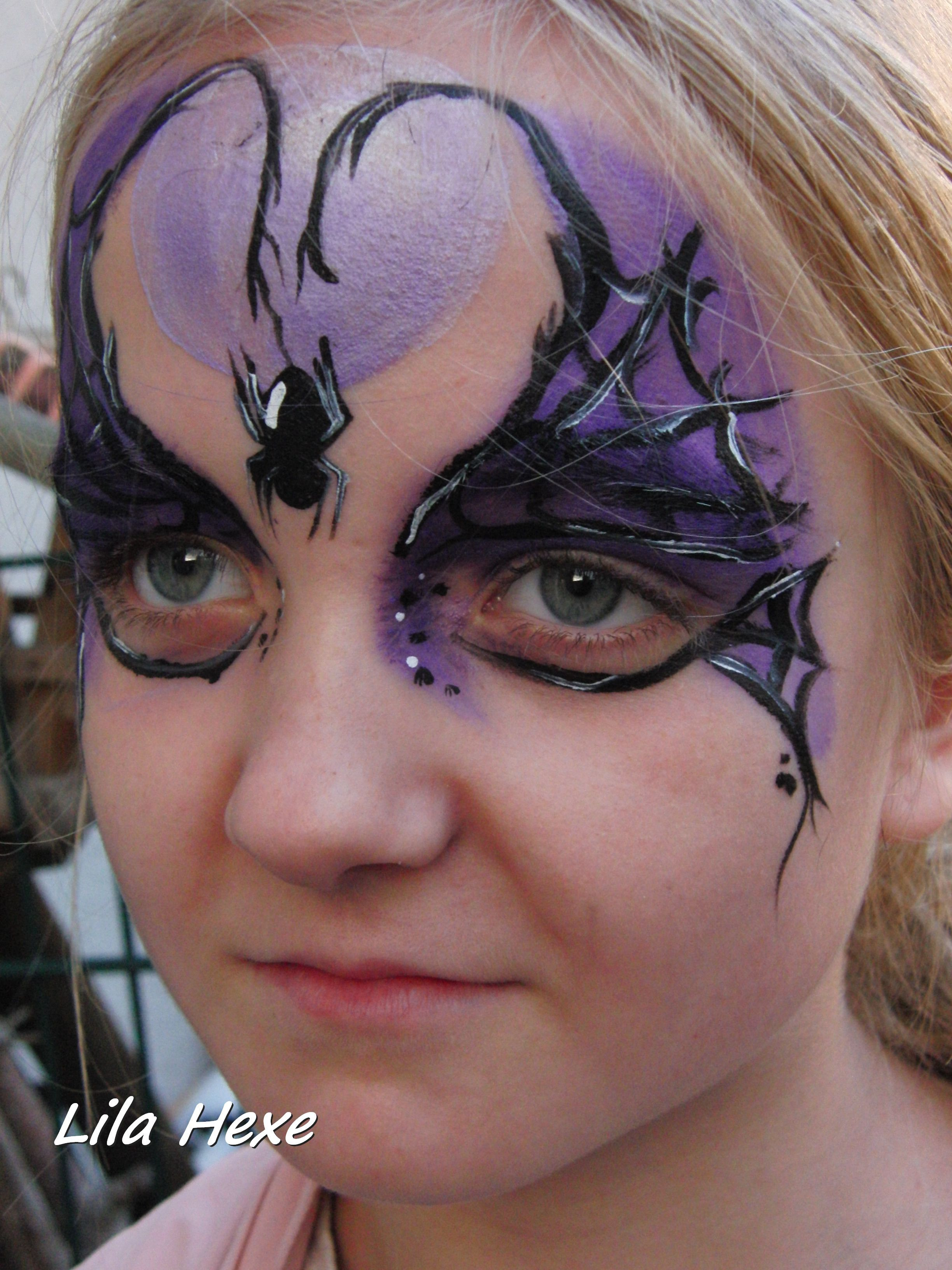 Halloween Gesichtsbemalung Hexe Face Painting Purple Witch Face Painting Kinderschminken