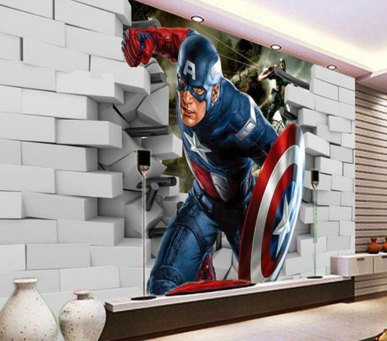 Avengers Captain America 3D Wall Mural Wallpaper