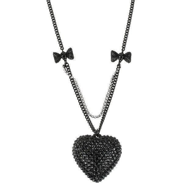 BETSEY JOHNSON Heart Pendant Necklace with Bow Detailing found on Polyvore