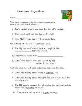 Comparative Adjectives Worksheet School Teaching