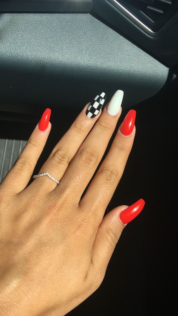 Untitled Checkered Nails Best Acrylic Nails Red Acrylic Nails