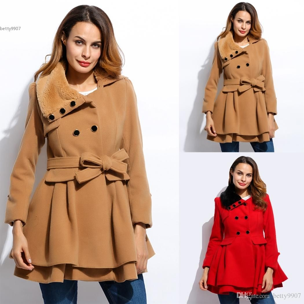 2017 New Fashion Women Trench Coat Jacket With Belt Wool Blend ...