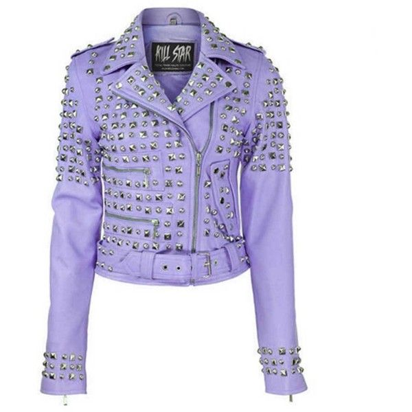 KillStar Studded leather jacket lila paars featuring polyvore, women's fashion, clothing, outerwear, jackets, studded jacket, studded leather moto jacket, purple motorcycle jacket, rider jacket and biker jackets