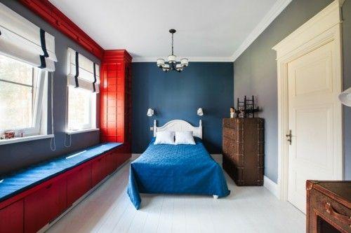 Ideen Schlafzimmer Eklektisch Blau Rot Kombinieren Weißer Boden