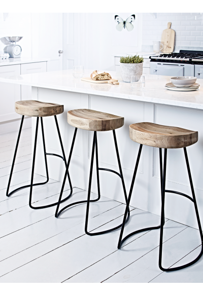 Weathered Oak And Metal Stool Scandi Kitchen Get The