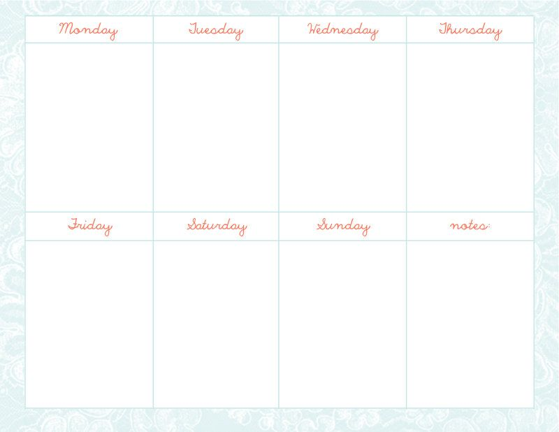 Cute Weekly Calendar Template