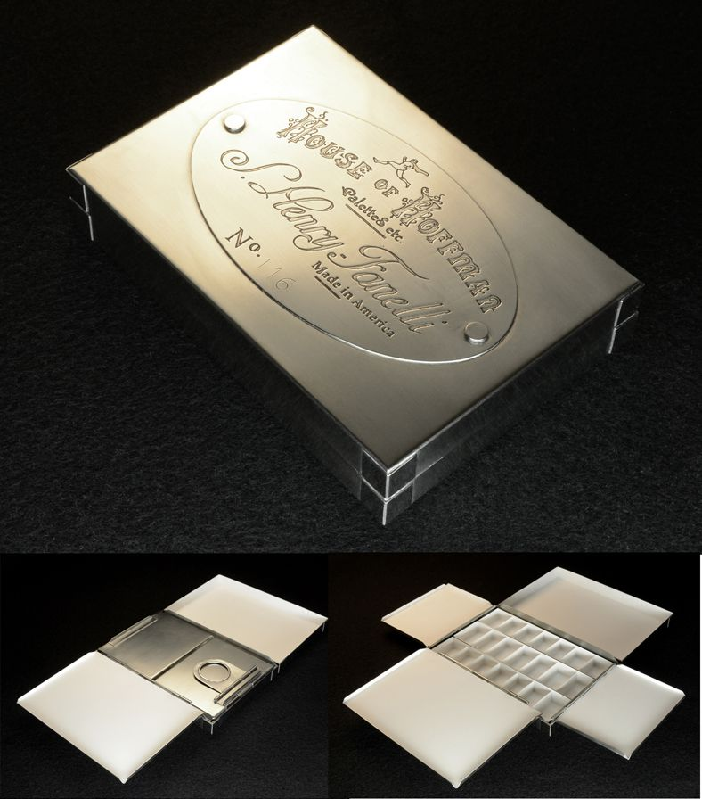 Small Nickel Silver Watercolor Palette Box 2014 Watercolor