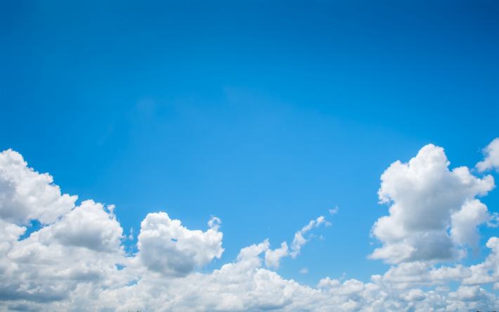 Download Wallpapers Blue Sky White Clouds Sun Clear Sky Clouds Besthqwallpapers Com Clouds Sky And Clouds White Clouds