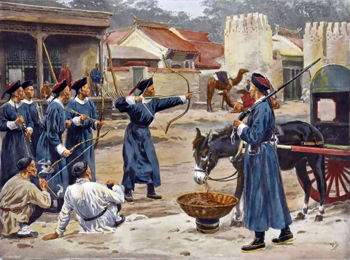 quing iers circa possibly around the time of the qing imperial archers in beijing opium war