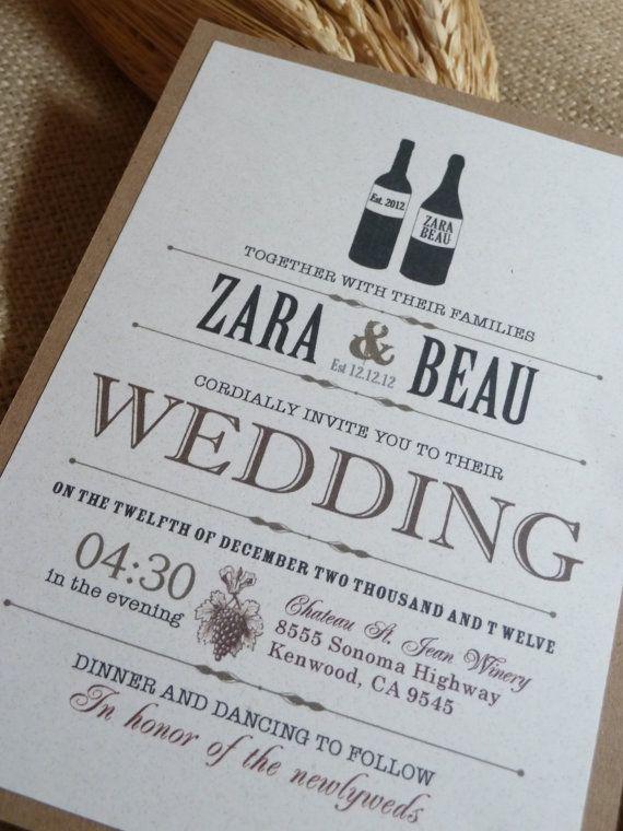 Cork wine themed letterpress wedding invitation from Plum Blossom – Wine Country Wedding Invitations