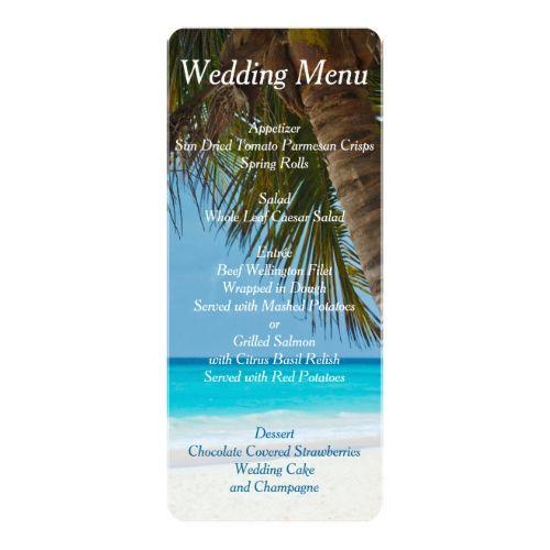 Beach Wedding Reception Food Ideas: Palm Trees On Beach Wedding Menu Invitations