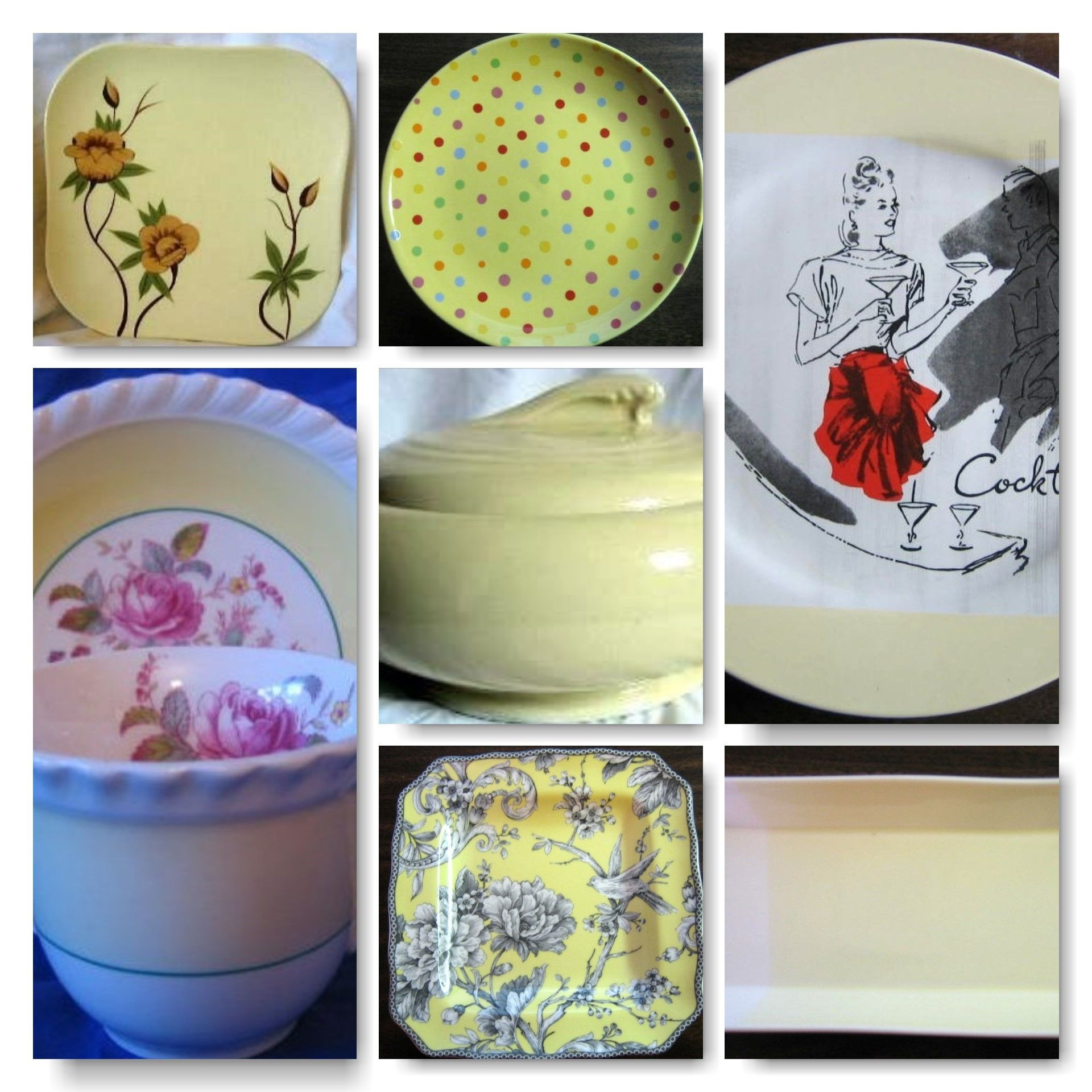 Yellow Decorative Plates A Collage Of Yellow Decorative Dishes Yellow Decorative Dishes