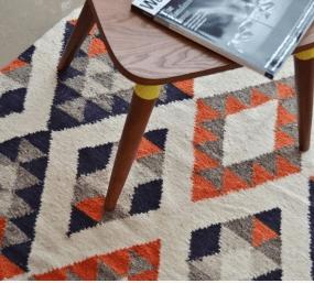 Handmade Fair Trade Colorful Diamond Guatemalan Wool Rug By