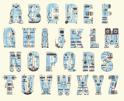 Robot Letters Colors And Patterns Alphabet Robot Lettering