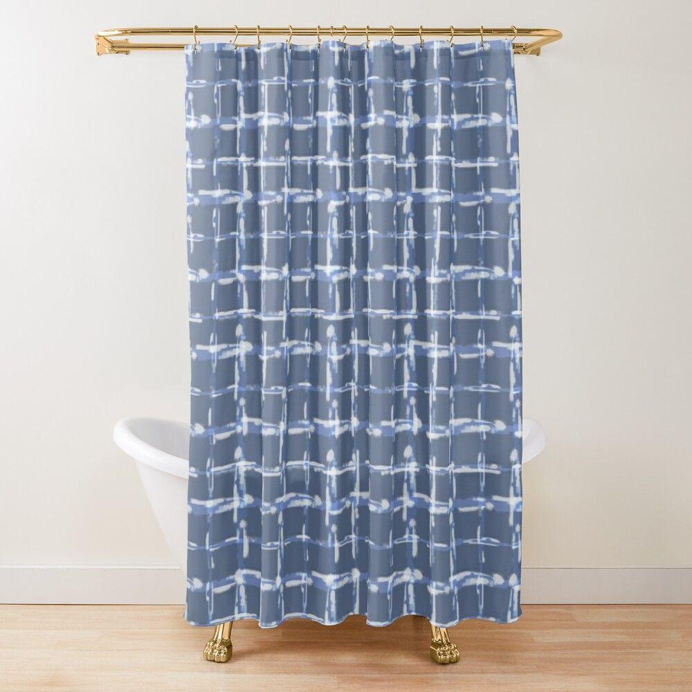 Denim Cloud Plaid 1 Shower Curtain By Sharon Schwalbe In 2020
