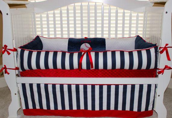 Custom Baby Bedding 3 Pc Set Baseball Ethan Set By