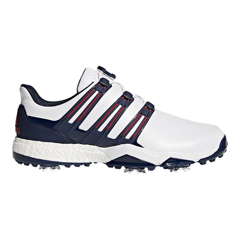 Adidas Golf Men S Powerband Boa Boost Golf Shoes Red White Blue