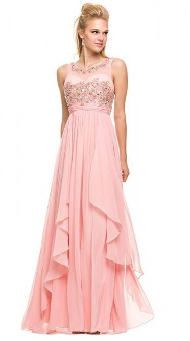 N8125 Tank Beaded Illusion Sweetheart V back Chiffon Gown CLOSEOUT
